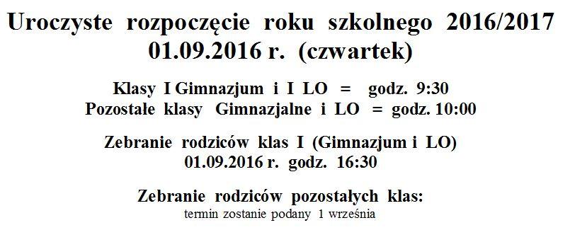 początek roku szkolnego 2016/17
